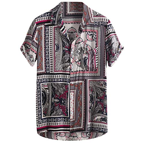 Mens Vintage Ethnic Printed Turn Down Collar Short Sleeve Loose Casual Shirts Red