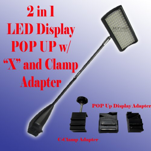 2 in 1 LED (156) Diplsay Light White for Trade Show Pop up Tension Booth Podium and Display Panel w/ C-type Adapter Super Bright Tension Las Vegas Approved, UL Approved by Display Sign Mart