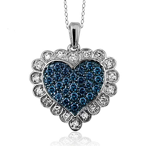JewelExcess 1/2 Carat T.W. Blue and White Diamond Sterling Silver Heart Pendant ()