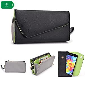 Sony Xperia GX S0-04D -UNIVERSAL- WOMENS WRISTLET PHONE HOLDER W/ INTERNAL CARD SLOTS- BLACK AND GREY - BONUS CROSS BODY CHAIN INCLUDED