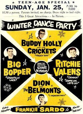 (Buddy Holly - Big Bopper - Ritchie Valens 1959 Winter Dance Party Concert Poster)