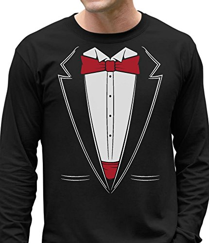 Cotton Long Sleeve Tuxedo - Printed Suit & Tie Tuxedo - Red Bow Tie Bachelor Party Long Sleeve T-Shirt XX-Large Black