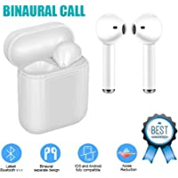 Wireless earbuds Bluetooth headset, sports in-ear TWS stereo mini headphones with microphone subwoofer IPX5 sweat-proof sports earplugs, noise-cancelling headphones i9s white suitable for driving, fitness...