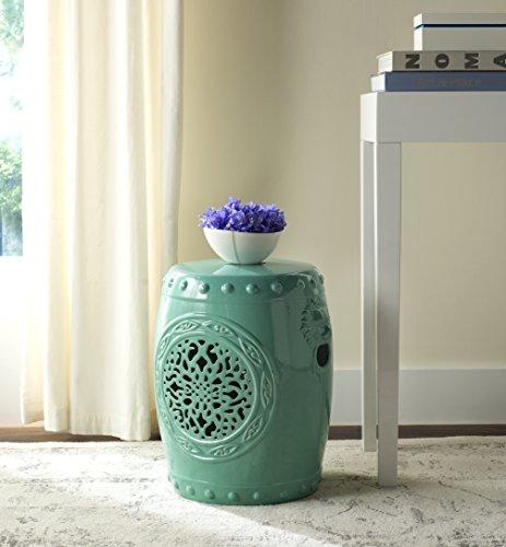 Safavieh Flower Drum Ceramic Decorative Garden Stool, Light Blue
