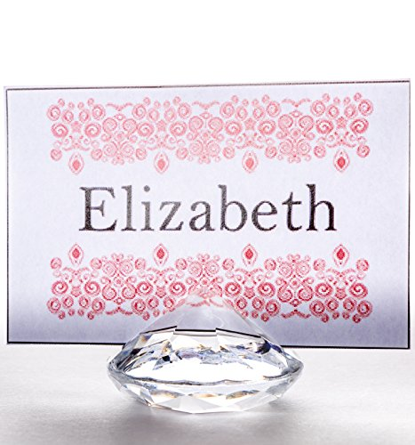 CLEAR Diamond Place Card Holders for Wedding & Party Table Decorations - Set of 20 - Strong, Solid Acrylic Table Name Card Holders by Pretty Display