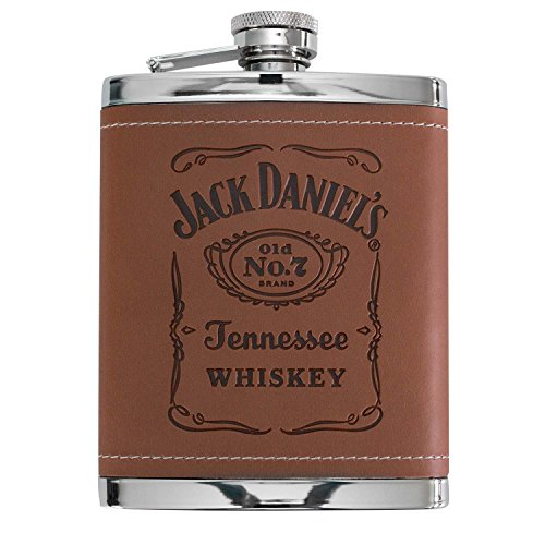 Jack Daniel's Brown Leatherette Cover 6 Oz Stainless Steel Flask (Jack Daniels Stein compare prices)