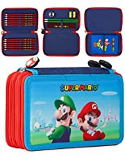 Super Mario Potlood Case, grote etui gevuld, 15+ schoolbenodigdheden briefpapier etui, potloden slijper gummen liniaal en klein notitieboek
