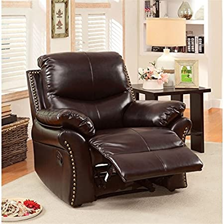 Amazon.com: Furniture of America Wess Leather Recliner in ...