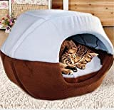 KAMIER Pet bed, Mongolian Yurt Shaped House Bed with Removable Cushion inside Soft Cotton Dog Cat Pet Bed-Blue,L