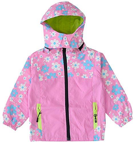 KISBINI Big Girls Windproof Zipper Jacket Hooded Windbreaker Raincoats Pink 5T by KISBINI