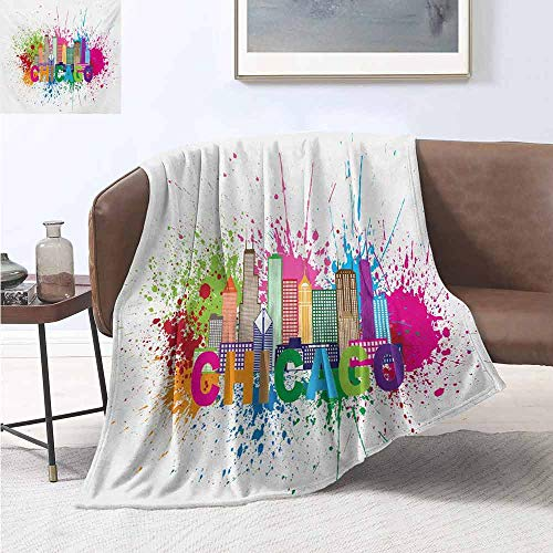 jecycleus Chicago Skyline Commercial Grade Printed Blanket Splash of Colorful Paint Background with Text of Chicago and Cityscape Queen King W91 by L60 Inch Multicolor (Hot Dog Stand In Chicago Tv Show)