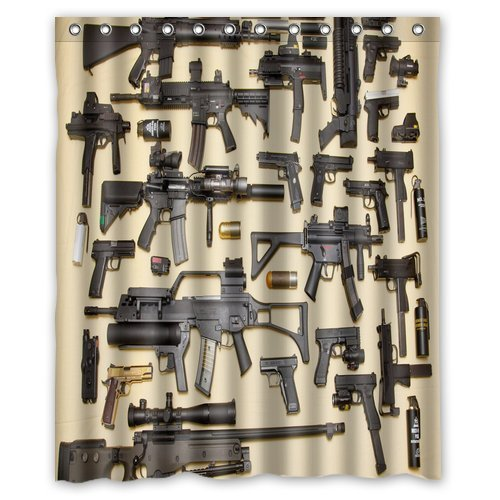 Custom Firearms Guns Shower Curtain Stylish Waterproof Polyester Fabric Bathroom Deco 60quot
