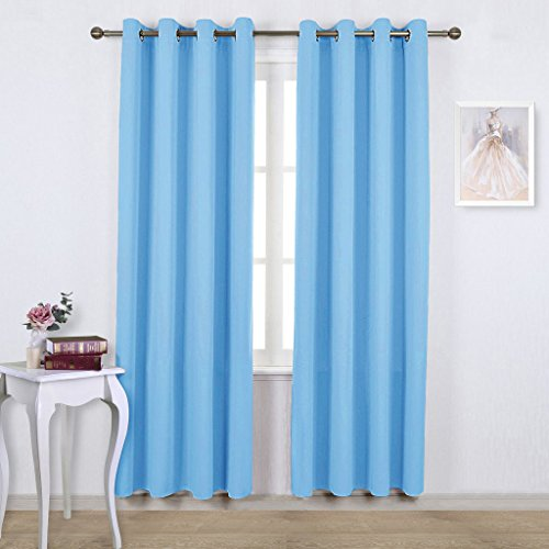 NICETOWN Sky Blue Blackout Curtains - Home Décor Window Treatment Ring Top Blackout Draperies Curtains for Living Room (2 Panels, 52 by 84, Blue) Blue Window Curtains