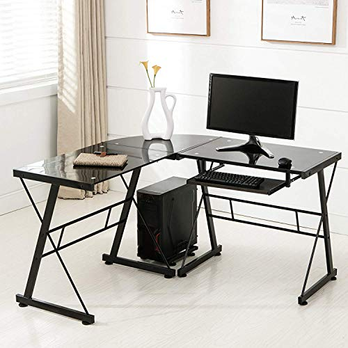 Mecor L Shaped Tempered Glass Computer Desk W/Keyboard Tray & CPU Stand-Corner Laptop PC Table Workstation Home Office Furniture,