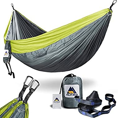 Portable Lightweight Single & Double Camping Hammocks 120  (L) x 80 (W) for Backpacking, Travel, Beach, Hiking, Yard Contain 2 x Straps (120  L) & 2 x Carabiners for Easy Setup Upgraded Grey & Grass