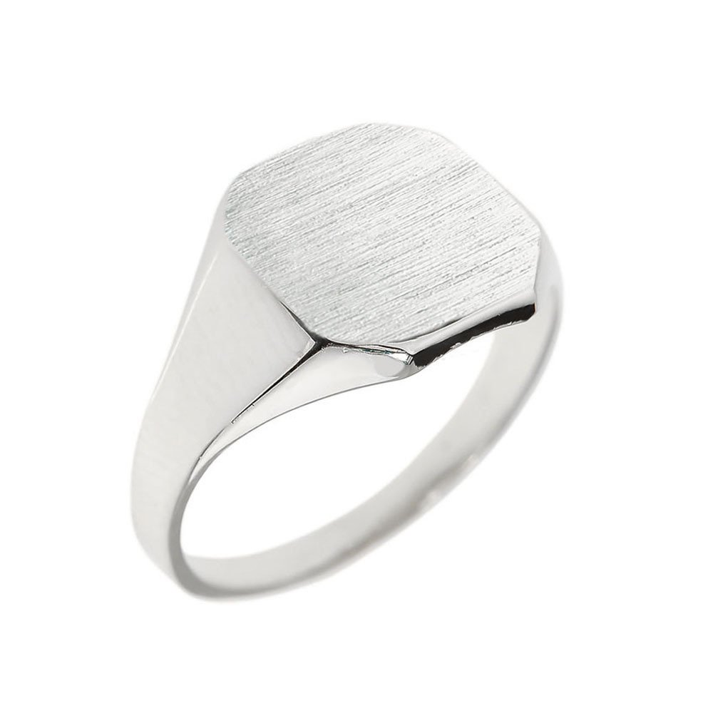 Mens 14k White Gold Engravable Cut Corner Square Octagonal Top Narrow Band Signet Ring