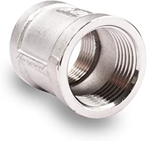 Horiznext 3/4 npt Stainless Steel Coupler, Homebrew threaded pipe cast coupling