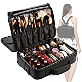 VASKER 3 Layers Waterproof Makeup Bag Travel Cosmetic Case Professional Portable Makeup Train Cases Organizer Brush Holder with Adjustable Divider Black