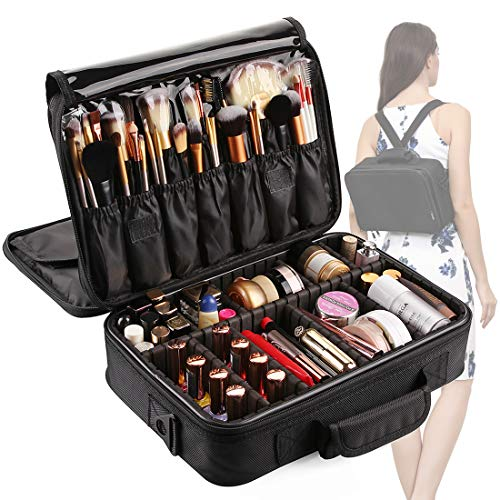 VASKER 3 Layers Waterproof Makeup Bag Travel Cosmetic Case Professional Portable Makeup Train Cases Organizer Brush Holder with Adjustable Divider ()