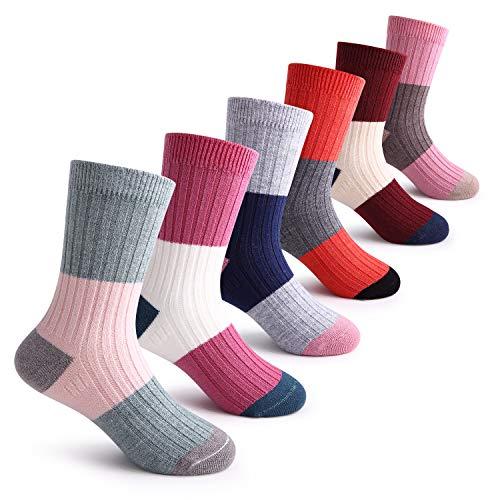 Girls Wool Socks Kids Fashion Color Block Soft Seamless Warm Crew Socks 6 Pack