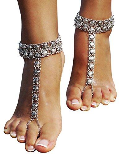 Bienvenu 1 Pair Boho Vintage Silver CoinTassel Anklets Foot Jewelry,Sliver_2 by Bienvenu