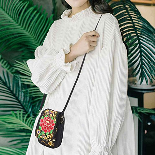 dame national toile Arichtop Sac seule monnaie à Pièce téléphone Fleurs Sac Rouge de Fleur Femmes brodé bandoulière épaule portable fille style 7w5EEqU