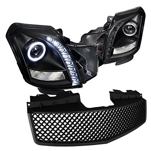 2003-2007 CTS SMD LED HALO PROJECTOR HEADLIGHTS+MATTE BLACK MESH HOOD ABS GRILLE