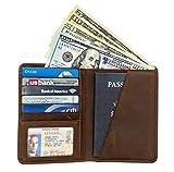RFID Blocking Passport Holder Travel Wallet Card Holder - Genuine Crazy Horse Leather (DarkBrown)