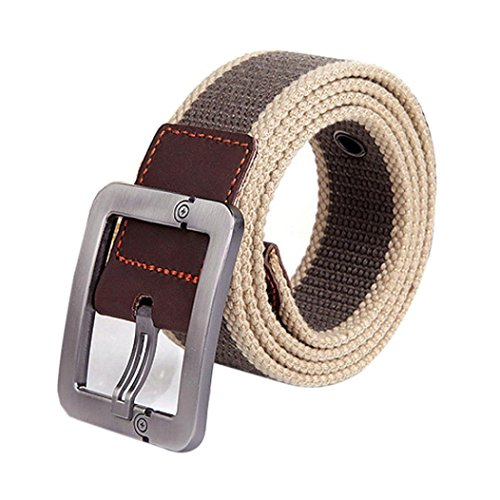 Alonea Men and Women Casual Square Buckle Waist Strap Sports Knit Canvas Belts (Khaki)