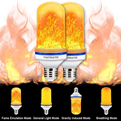 LED Flame Effect Light Bulb,Hansang Flickering Fire Bulbs 4 Modes with Upside Down E26 Base,Creative Decorative Light,Simulated Vintage Flame Light for Halloween,Chirstmas,Party,Bar Decoration 2 Pack