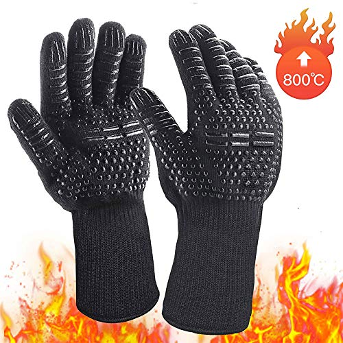 BENEKING Heat Resistant BBQ Oven Grill Gloves for Cooking Baking Boiling Hot Food Handling High Heat 800° Extreme Heat Resistant Gloves, BBQ Gloves, Hot Oven Mitts, Charcoal Grill, Insulated