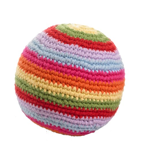 Crochet Striped Ball - Pebble | Handmade Ball Rattle - Rainbow Striped | Crochet | Fair Trade | Pretend | Imaginative Play | Machine Washable