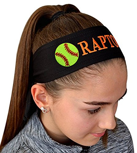Funny Girl Designs Softball TIE Back Headband Personalized with The Embroidered Name of Your Choice (Black TIE Back)