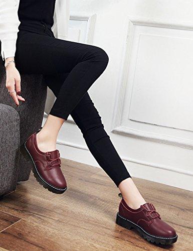 femme taille Style British College Couleur Plat Rouge 38 Chaussures Cuir Vin En Femmes Printemps Chaussures Martin HWF Femme Casual Chaussures simples Vin rouge Étudiant 5qwAnRIx