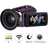 Digital Camera Camcorders, LAKASARA 4K Ultra HD Video Camera Wifi and IR Night Vision Camcorder with External Wide Angle Lens and Macro Lens, Purple