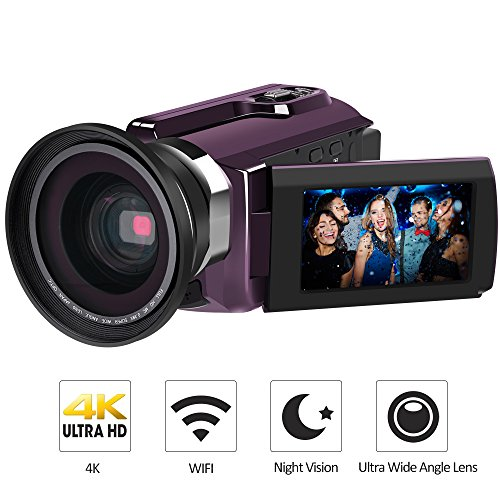 "4K Camcorder, LAKASARA Video Camera Camcorders 48.0MP Ultra HD Digital Cameras Video Recorder with Wifi and Infrared Night Vision 3"" LCD Touchscreen External Wide Angle Lens (Purple)"