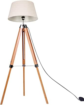 Modern Vintage Retro Floor Lamp Bamboo Tripod Linen Shade Wooden Light #05