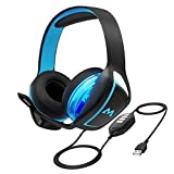 Mpow EG1 Gaming Headset, 7.1 Surround Sound, Dual 60mm Powerful Driver Gaming Headphones with Noise Cancelling Microphones, Over-Ear Soft EarPad, LED Light, Stereo Bass USB Headset for PC/PS4/Xbox One