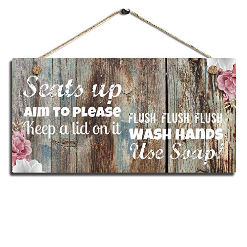 Bathroom Wall Decor, Funny Rustic Bathroom Decoration for Wall Pictures Signs Seats Up & Use Soap 11.5