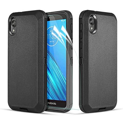 Wareon-Moto E6 Case, Moto E 6th Gen Case with Screen Protector, [Hybrid Tri-Layer] [Military Grade Drop Tested] Shockproof Full-Body Heavy Duty Protective Phone Case Cover for Motorola Moto E6-Black