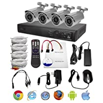 R-Tech RTSK7204HV04 Surveillance Kit with 4 Channel DVR and 4 Bullet Cameras (Black/Silver)