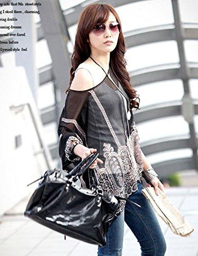 Sitengle Mujeres Chiffon Bohemia de Verano Manga Corta Camisa Camiseta Camisetas Blusas Tops Negro