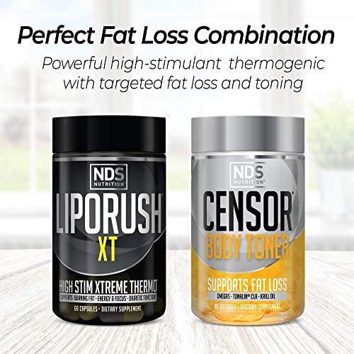 NDS Nutrition Maximum Strength Dual Impact Stack - Complete 2-in-1 Fat Loss Stack Enhanced with Teacrine, L-Carnitine, CLA for Serious Results - Censor 90 Softgels & LipoRush XT 60 Capsules 6