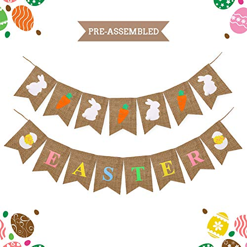 Yaaaaasss! Easter Burlap Banners,Colorful Natural Easter Bunting Garland for Spring Themed Party Home Decor Favors