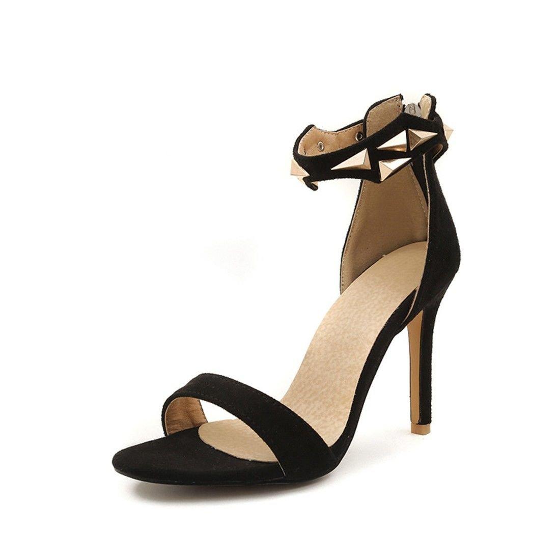 AIKAKA 10792 Chaussures Femmes pour Femmes Printemps Été Haut Été Talon à Glissière Sandales Black 80ee725 - boatplans.space