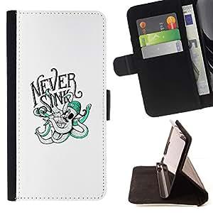 Momo Phone Case / Flip Funda de Cuero Case Cover - Nunca Sink - Tipografía Pulpo - HTC One M8