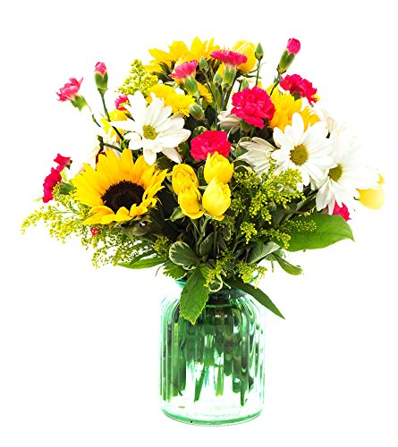 - FLWERZ [Countryside Cascade] Natural Beautiful Hand-crafted Colorful Springtime Mother's Day Bouquet with 8oz clear Glass Vase