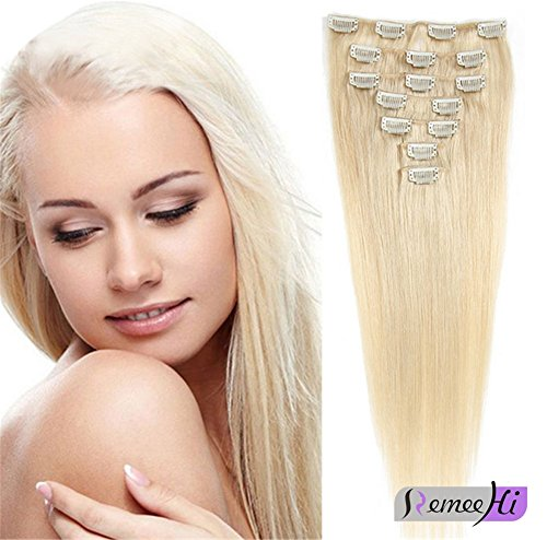 Remeehi 15''-30'' 7pcs Full Head Set 100% Remy Human Hair Clip in on Hair Extensions Straight Hairpieces for Women 90g (30'' 60# Platinum Blonde) by Remeehi