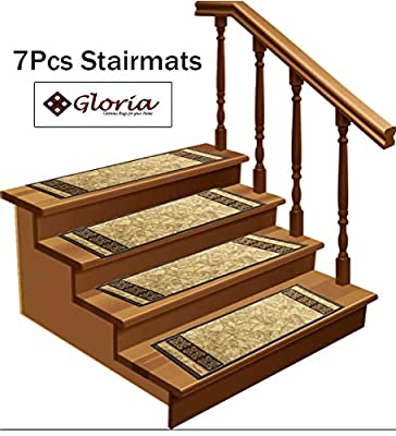 """Gloria Rug NEW Non-Slip Indoor Rubber Backed Stair Mats Modern Non-Skid Washable Stair Treads - Area Rug Carpet, SET OF 7 ( 8.5"""" x 26"""" )"""