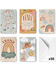 Rileys Baby Shower Thank You Cards Assortment, 50-Count | Hand-Illustrated 5 Designs, Envelopes Included, Bulk Variety Pack (Nature)